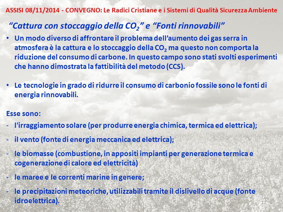 """""""Cattura con stoccaggio della CO 2 """" e """"Fonti rinnovabili"""" Un modo diverso di affrontare il problema dell'aumento dei gas serra in atmosfera è la catt"""