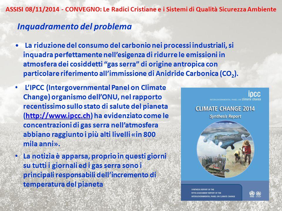 La riduzione del consumo del carbonio nei processi industriali, si inquadra perfettamente nell'esigenza di ridurre le emissioni in atmosfera dei cosid
