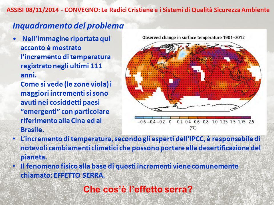 Inquadramento del problema Nell'immagine riportata qui accanto è mostrato l'incremento di temperatura registrato negli ultimi 111 anni. Come si vede (