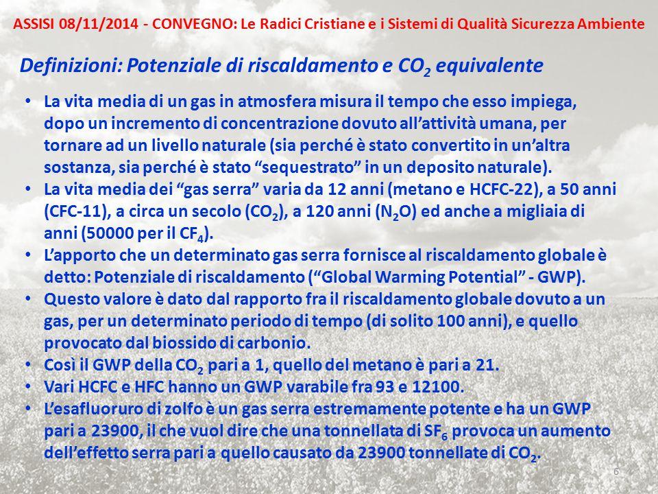 Definizioni: Potenziale di riscaldamento e CO 2 equivalente La vita media di un gas in atmosfera misura il tempo che esso impiega, dopo un incremento