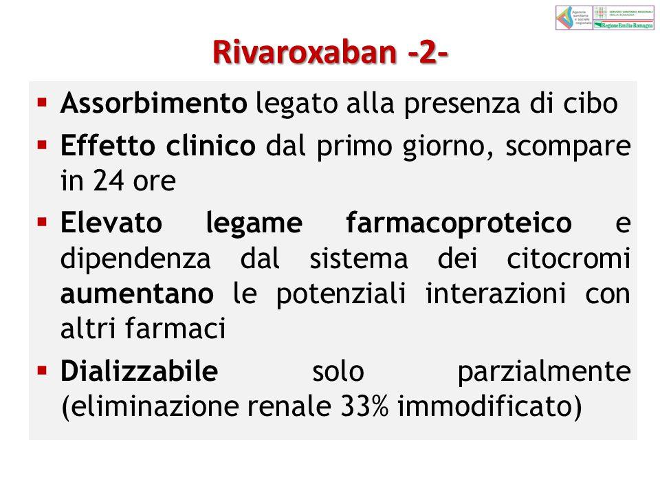 Rivaroxaban -2-  Assorbimento legato alla presenza di cibo  Effetto clinico dal primo giorno, scompare in 24 ore  Elevato legame farmacoproteico e