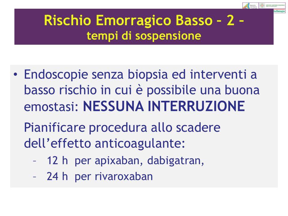Rischio Emorragico Basso – 2 – tempi di sospensione Endoscopie senza biopsia ed interventi a basso rischio in cui è possibile una buona emostasi: NESS