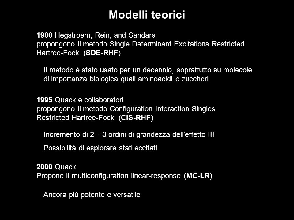 1980 Hegstroem, Rein, and Sandars propongono il metodo Single Determinant Excitations Restricted Hartree-Fock (SDE-RHF) Modelli teorici Il metodo è st