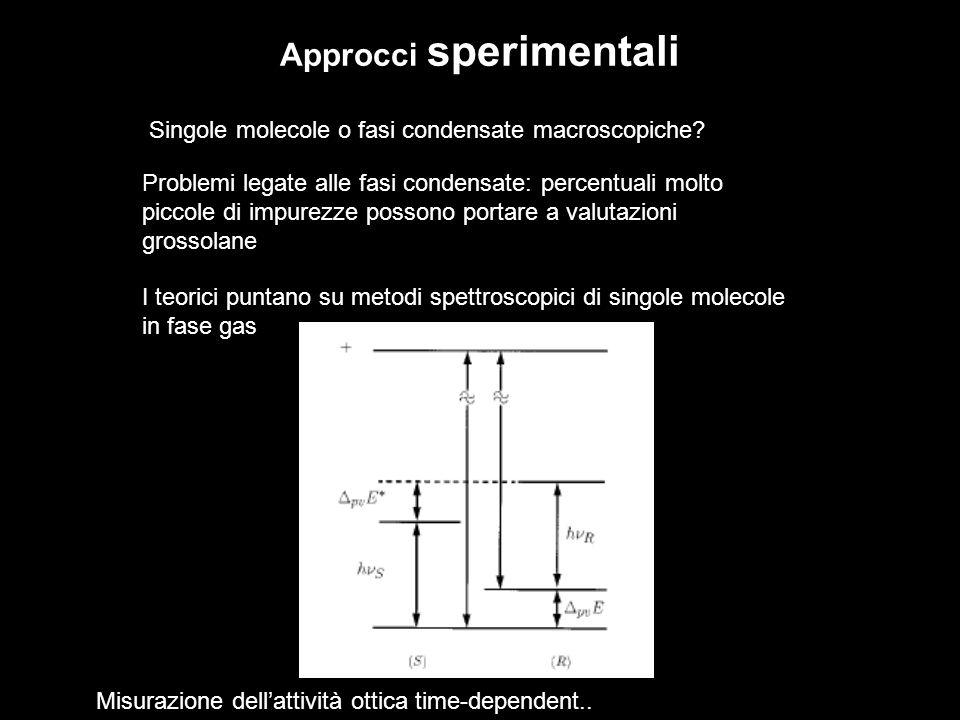 Approcci sperimentali Singole molecole o fasi condensate macroscopiche.