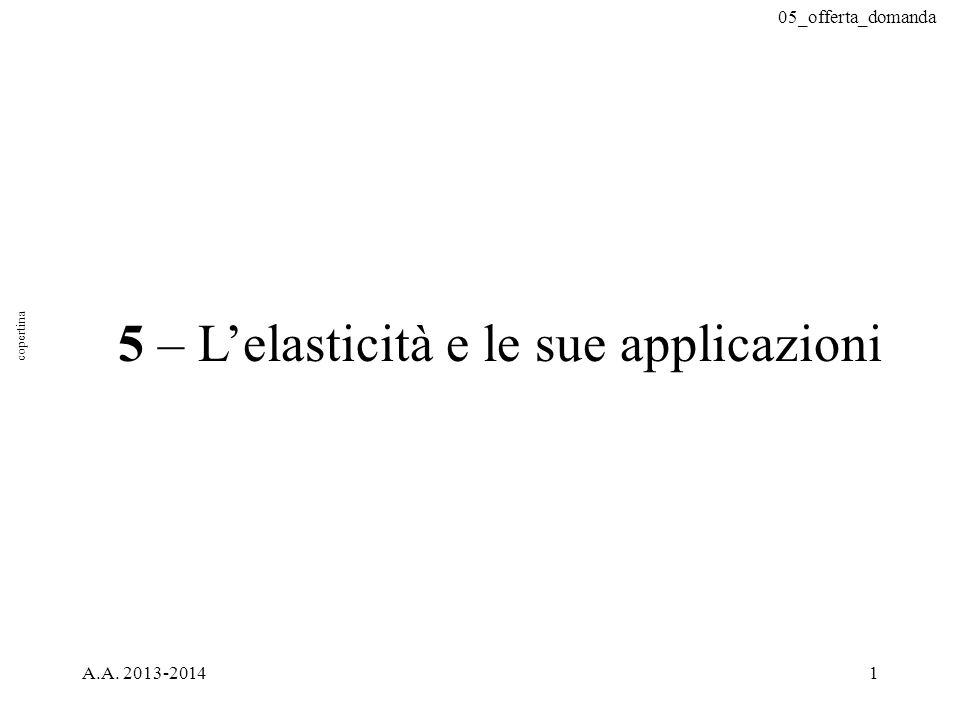 05_offerta_domanda A.A. 2013-20141 5 – L'elasticità e le sue applicazioni copertina