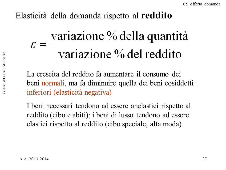 05_offerta_domanda A.A. 2013-201427 Elasticità della domanda rispetto al reddito La crescita del reddito fa aumentare il consumo dei beni normali, ma