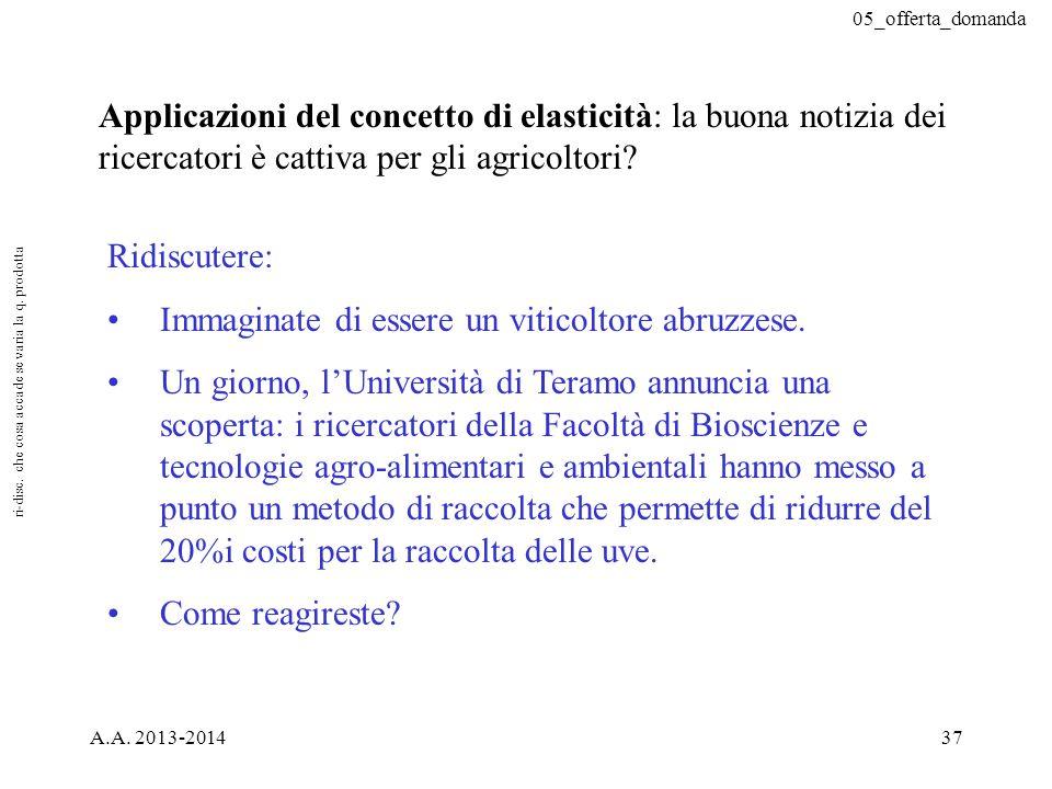 05_offerta_domanda A.A. 2013-201437 Applicazioni del concetto di elasticità: la buona notizia dei ricercatori è cattiva per gli agricoltori? Ridiscute