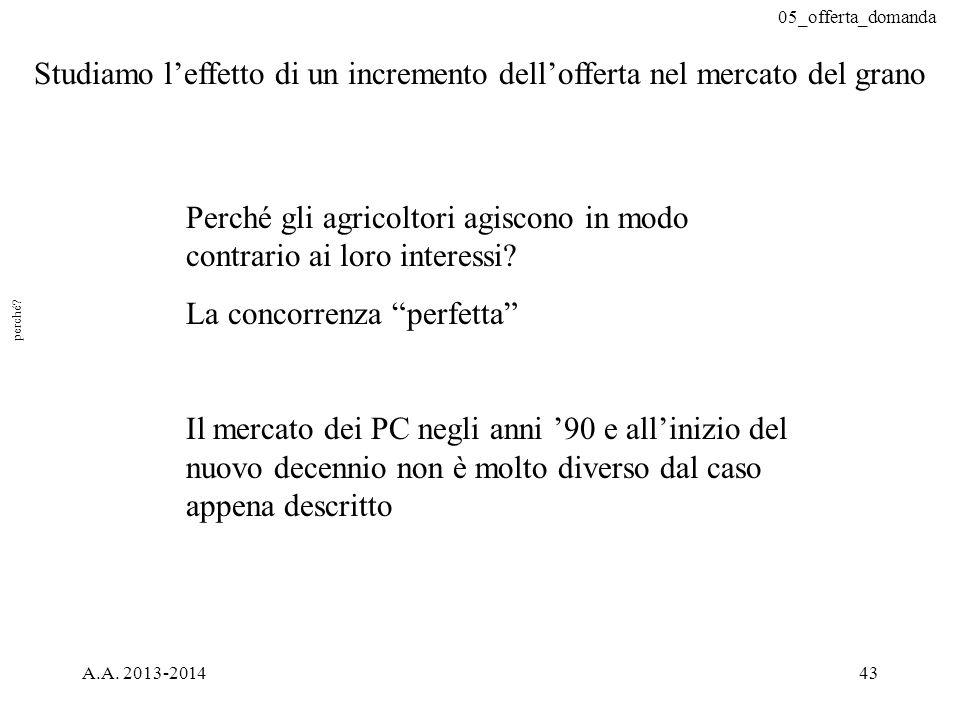 """05_offerta_domanda A.A. 2013-201443 Perché gli agricoltori agiscono in modo contrario ai loro interessi? La concorrenza """"perfetta"""" Il mercato dei PC n"""
