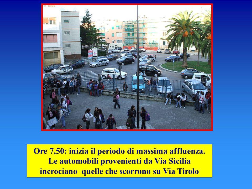 Ore 7,50: inizia il periodo di massima affluenza. Le automobili provenienti da Via Sicilia incrociano quelle che scorrono su Via Tirolo