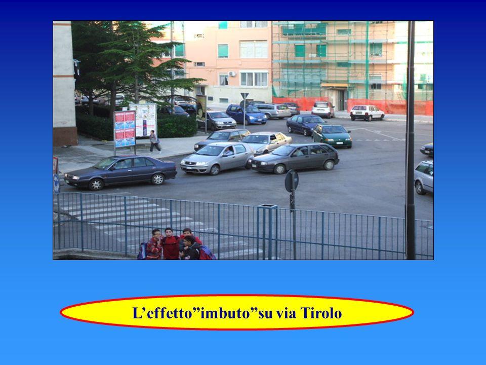 La presenza di auto ferme in divieto di sosta aumenta l'ingorgo L'effetto imbuto causa l'allungamento della fila di auto sia su via Sicilia che su via Tirolo