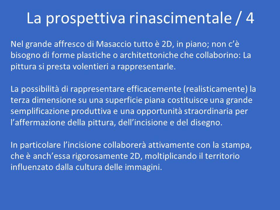 La prospettiva rinascimentale / 4 Nel grande affresco di Masaccio tutto è 2D, in piano; non c'è bisogno di forme plastiche o architettoniche che colla