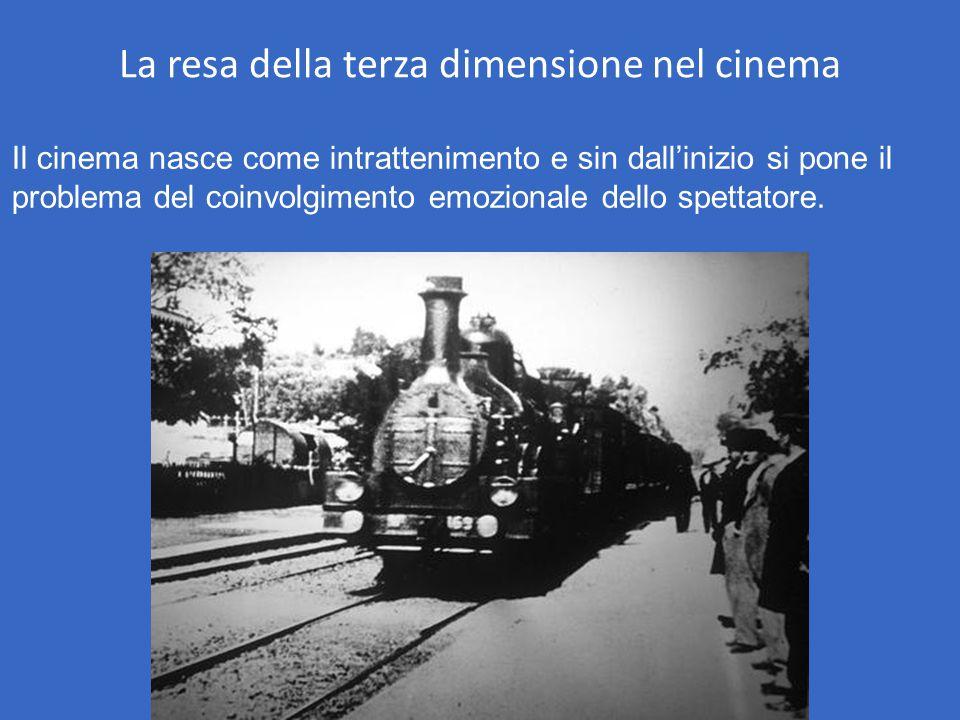 La resa della terza dimensione nel cinema Il cinema nasce come intrattenimento e sin dall'inizio si pone il problema del coinvolgimento emozionale del