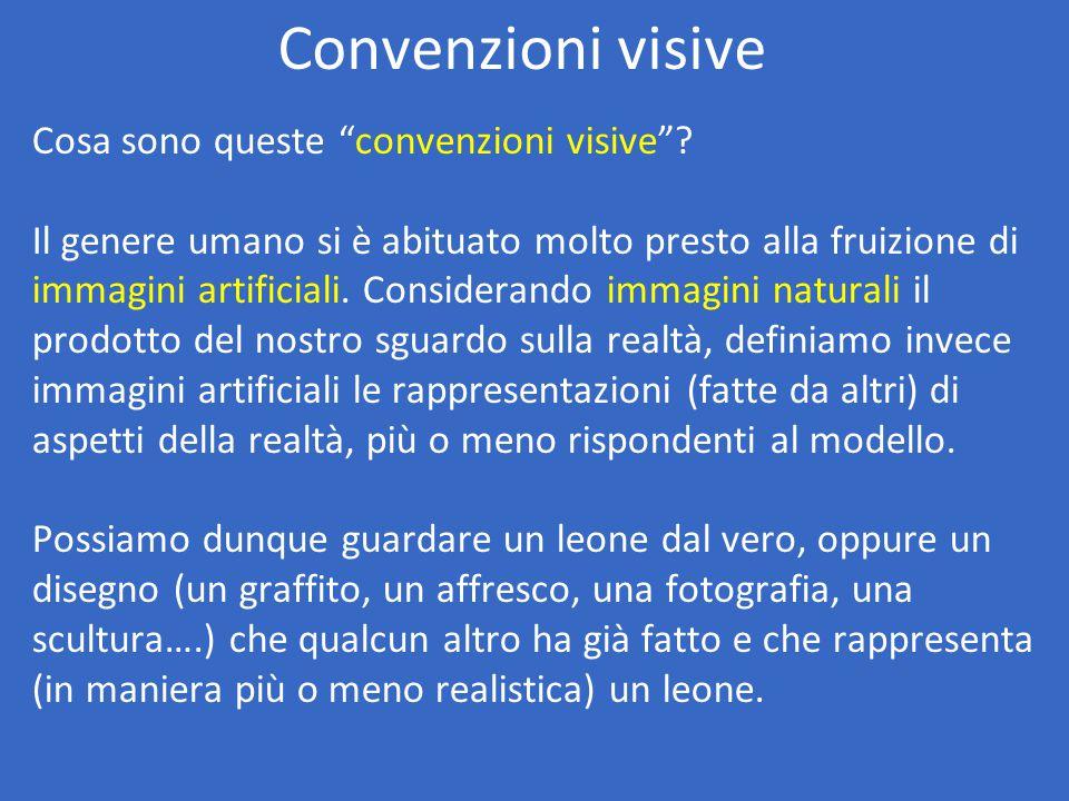 """Convenzioni visive Cosa sono queste """"convenzioni visive""""? Il genere umano si è abituato molto presto alla fruizione di immagini artificiali. Considera"""
