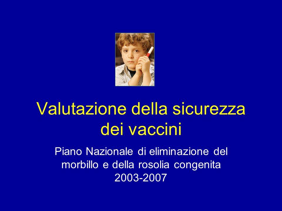 Valutazione della sicurezza dei vaccini Piano Nazionale di eliminazione del morbillo e della rosolia congenita 2003-2007