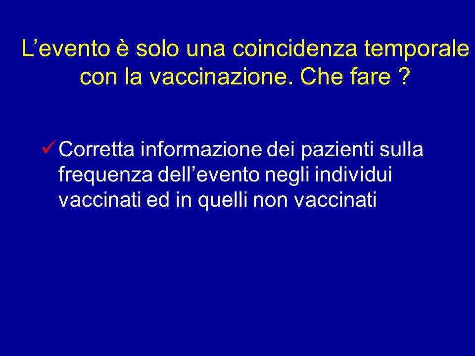 L'evento è solo una coincidenza temporale con la vaccinazione.