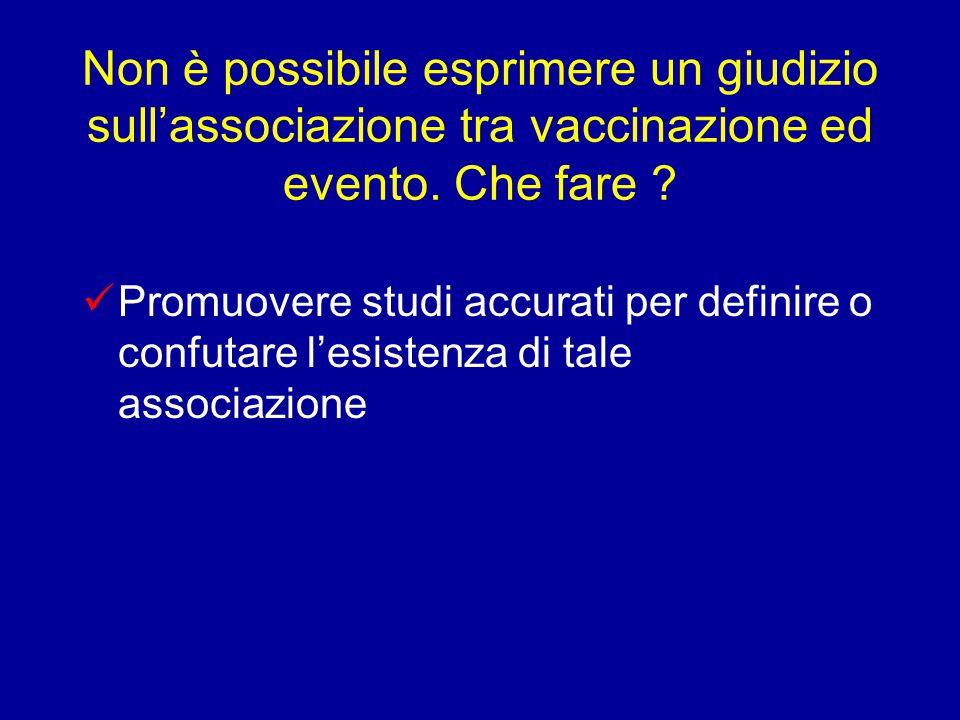 Non è possibile esprimere un giudizio sull'associazione tra vaccinazione ed evento.