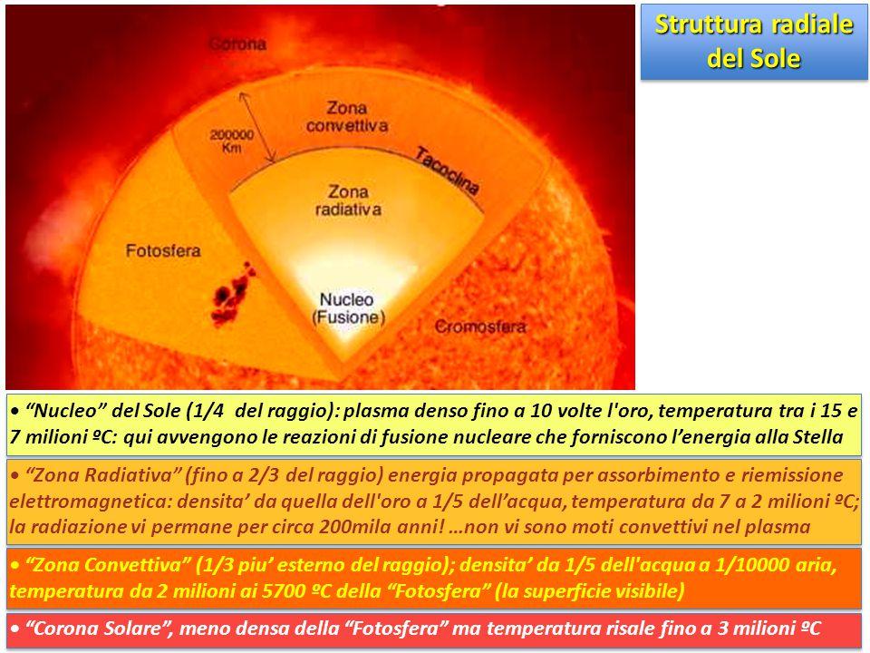 """""""Nucleo"""" del Sole (1/4 del raggio): plasma denso fino a 10 volte l'oro, temperatura tra i 15 e 7 milioni ºC: qui avvengono le reazioni di fusione nucl"""