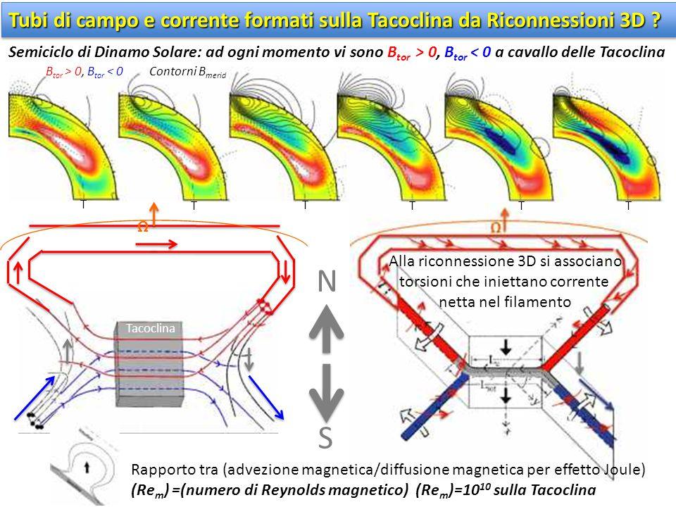 Tacoclina B tor > 0, B tor < 0Contorni B merid T T T T T T N Tubi di campo e corrente formati sulla Tacoclina da Riconnessioni 3D ? Semiciclo di Dinam