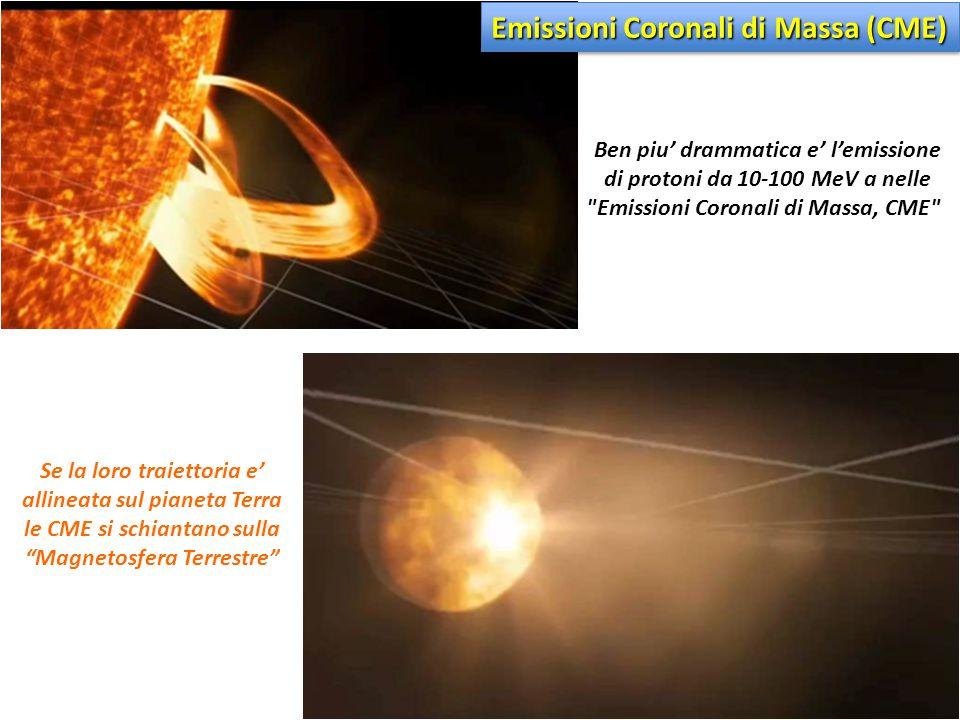 Ben piu' drammatica e' l'emissione di protoni da 10-100 MeV a nelle