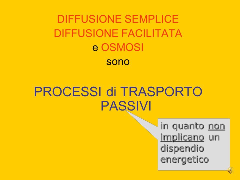 DIFFUSIONE SEMPLICE DIFFUSIONE FACILITATA e OSMOSI sono PROCESSI di TRASPORTO PASSIVI in quanto non implicano un dispendio energetico