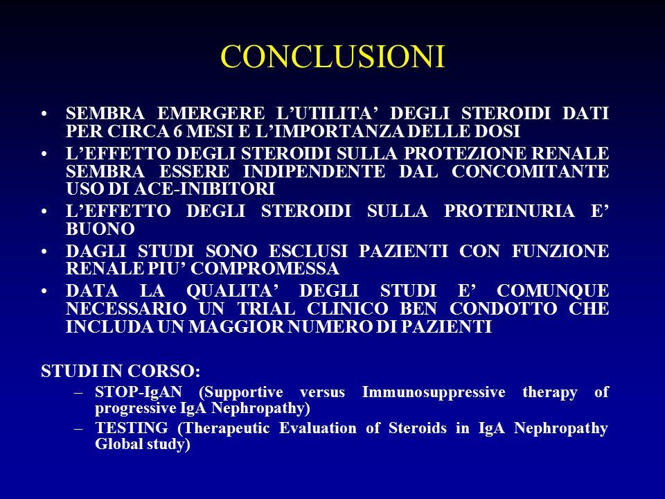 CONCLUSIONI SEMBRA EMERGERE L'UTILITA' DEGLI STEROIDI DATI PER CIRCA 6 MESI E L'IMPORTANZA DELLE DOSI L'EFFETTO DEGLI STEROIDI SULLA PROTEZIONE RENALE