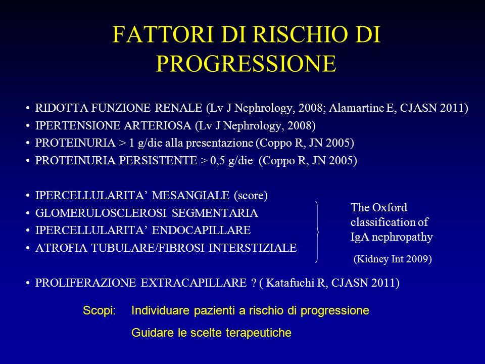 FATTORI DI RISCHIO DI PROGRESSIONE RIDOTTA FUNZIONE RENALE (Lv J Nephrology, 2008; Alamartine E, CJASN 2011) IPERTENSIONE ARTERIOSA (Lv J Nephrology,