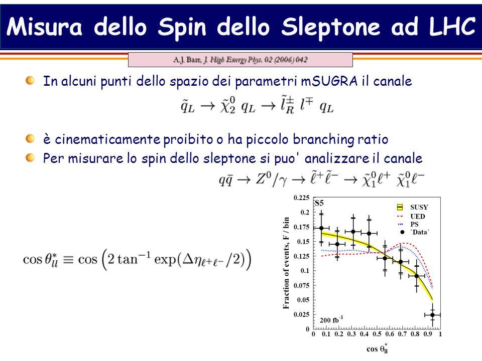 25 Misura dello Spin dello Sleptone ad LHC In alcuni punti dello spazio dei parametri mSUGRA il canale è cinematicamente proibito o ha piccolo branching ratio Per misurare lo spin dello sleptone si puo analizzare il canale A.J.
