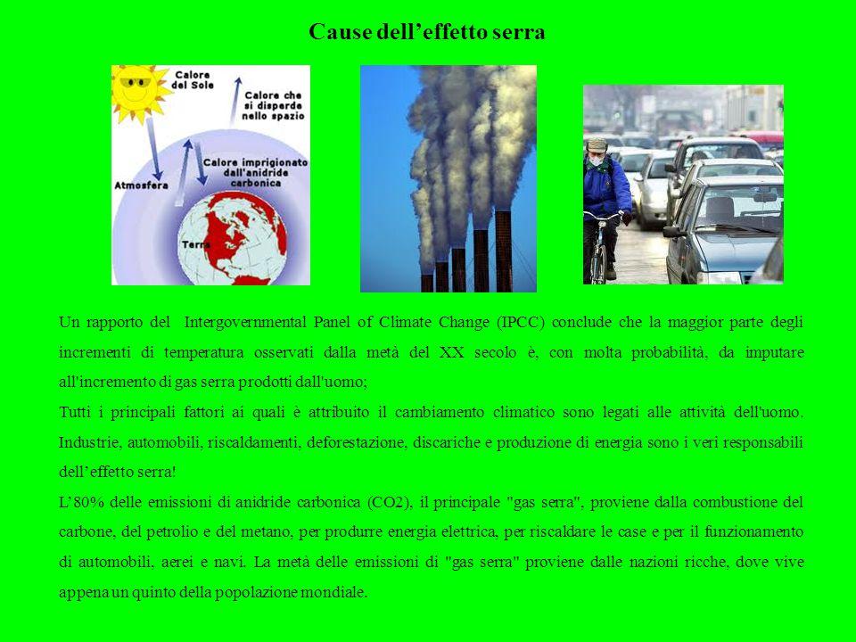 Cause dell'effetto serra Un rapporto del Intergovernmental Panel of Climate Change (IPCC) conclude che la maggior parte degli incrementi di temperatur