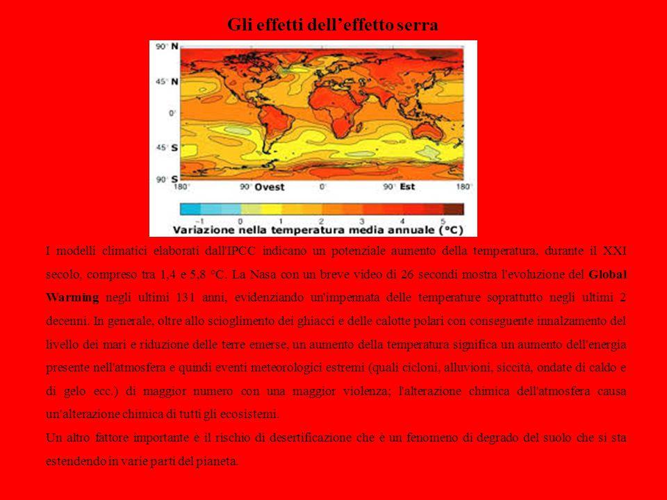 Gli effetti dell'effetto serra I modelli climatici elaborati dall'IPCC indicano un potenziale aumento della temperatura, durante il XXI secolo, compre