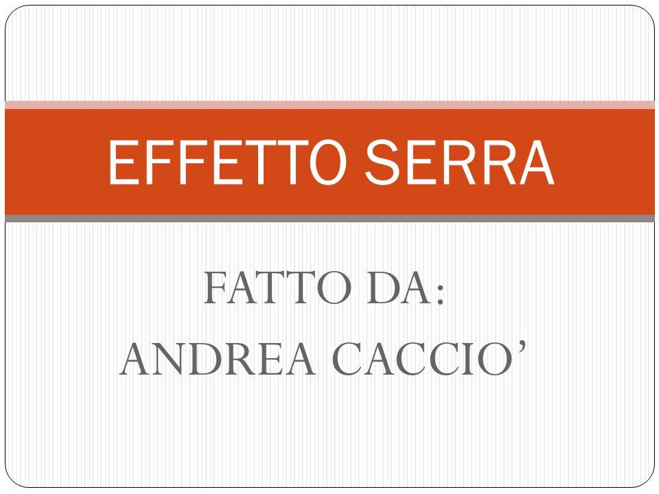FATTO DA: ANDREA CACCIO' EFFETTO SERRA