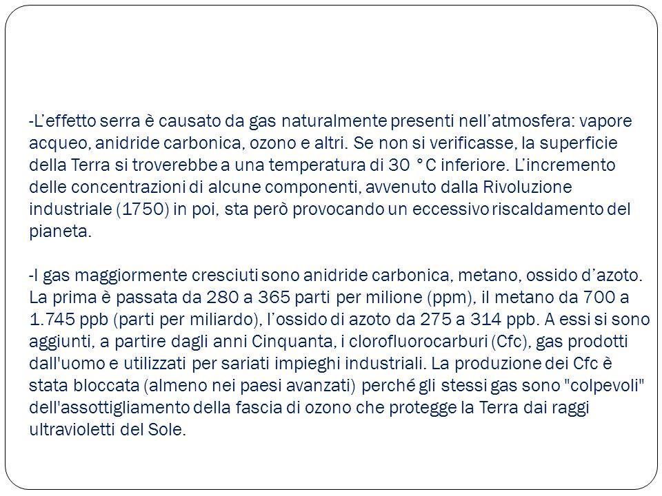 -L'effetto serra è causato da gas naturalmente presenti nell'atmosfera: vapore acqueo, anidride carbonica, ozono e altri. Se non si verificasse, la su