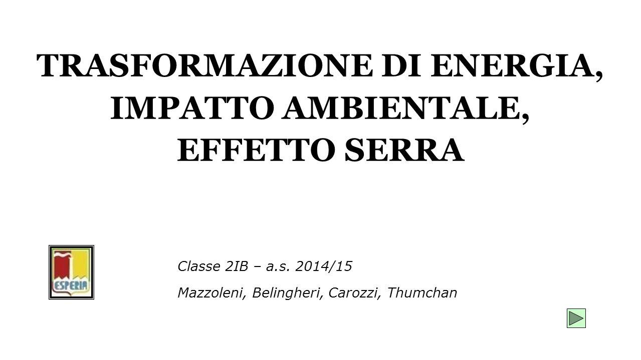 TRASFORMAZIONE DI ENERGIA, IMPATTO AMBIENTALE, EFFETTO SERRA Mazzoleni, Belingheri, Carozzi, Thumchan Classe 2IB – a.s. 2014/15