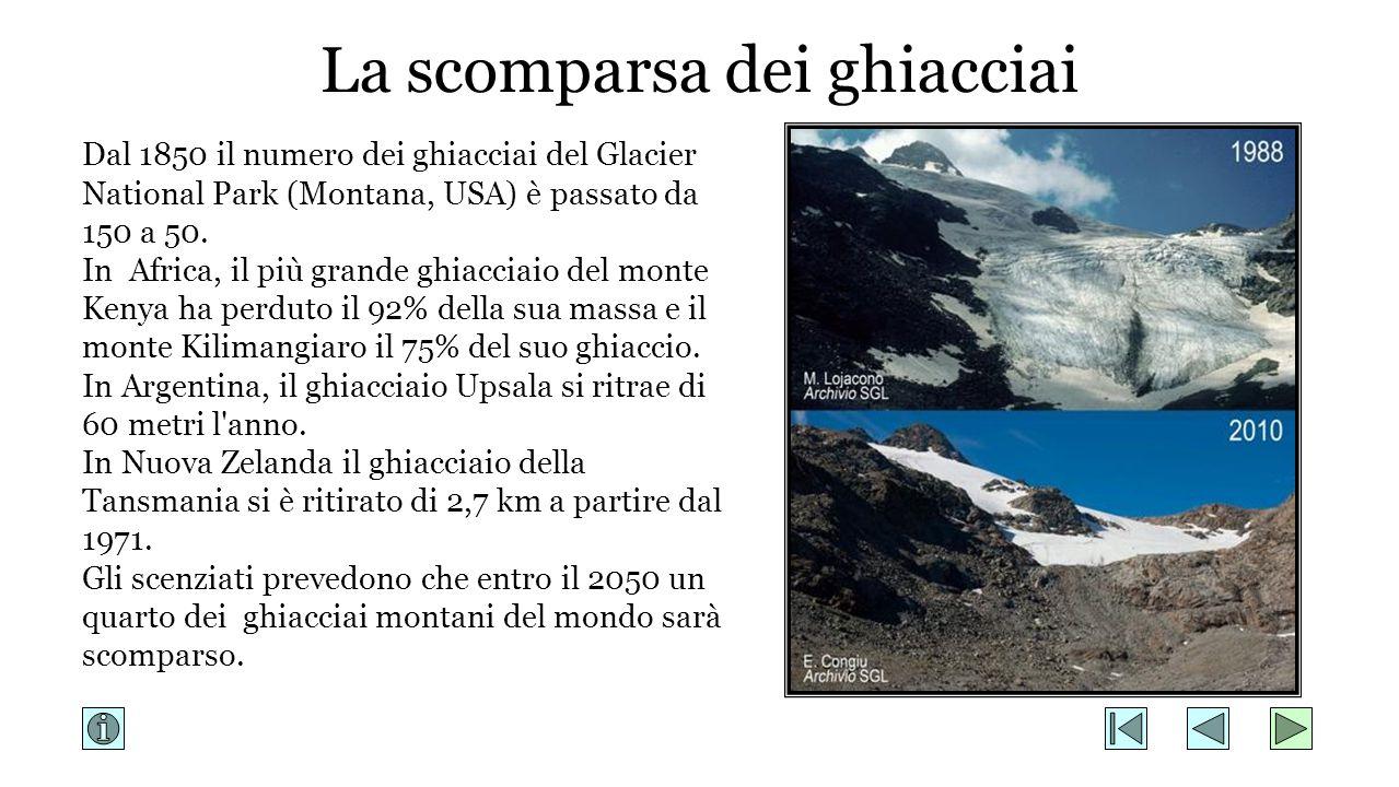 Dal 1850 il numero dei ghiacciai del Glacier National Park (Montana, USA) è passato da 150 a 50. In Africa, il più grande ghiacciaio del monte Kenya h