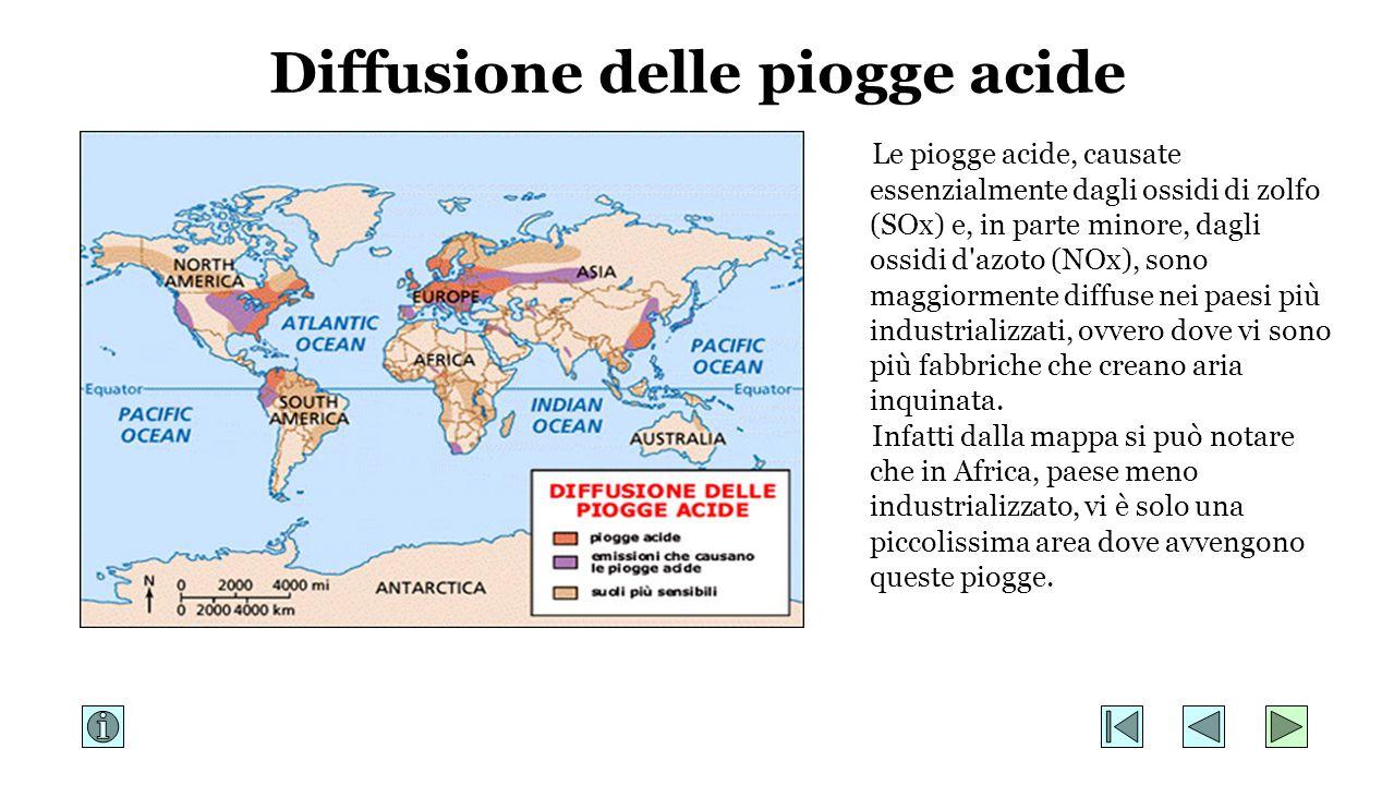Diffusione delle piogge acide Le piogge acide, causate essenzialmente dagli ossidi di zolfo (SOx) e, in parte minore, dagli ossidi d'azoto (NOx), sono