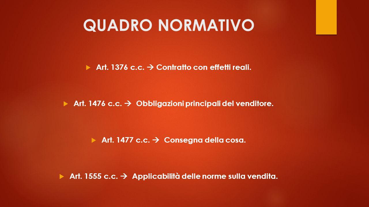 QUADRO NORMATIVO  Art. 1376 c.c.  Contratto con effetti reali.  Art. 1476 c.c.  Obbligazioni principali del venditore.  Art. 1477 c.c.  Consegna