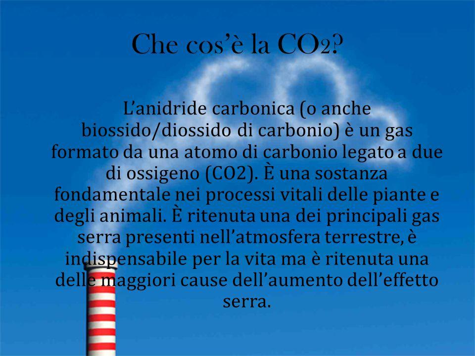 Che cos'è la CO 2 ? L'anidride carbonica (o anche biossido/diossido di carbonio) è un gas formato da una atomo di carbonio legato a due di ossigeno (C