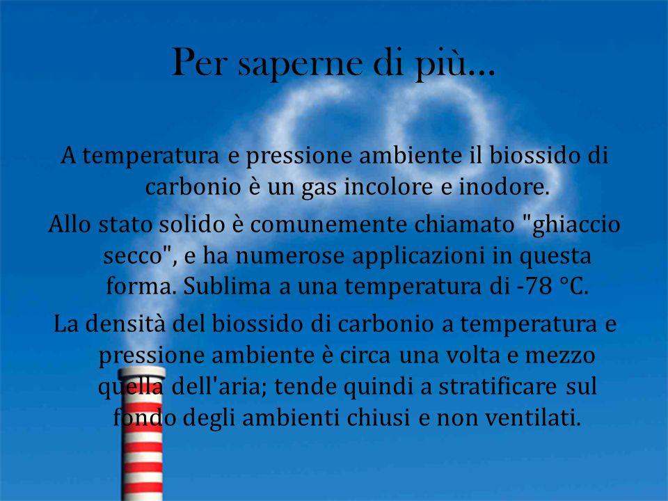 Per saperne di più… A temperatura e pressione ambiente il biossido di carbonio è un gas incolore e inodore. Allo stato solido è comunemente chiamato