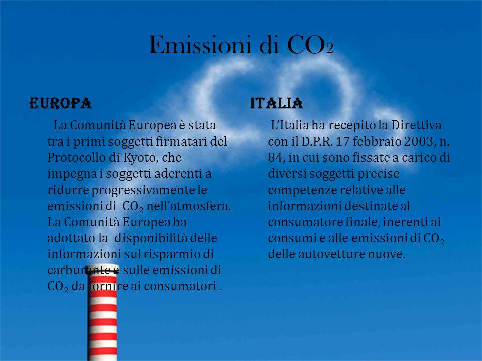 Emissioni di CO 2 Europa La Comunità Europea è stata tra i primi soggetti firmatari del Protocollo di Kyoto, che impegna i soggetti aderenti a ridurre