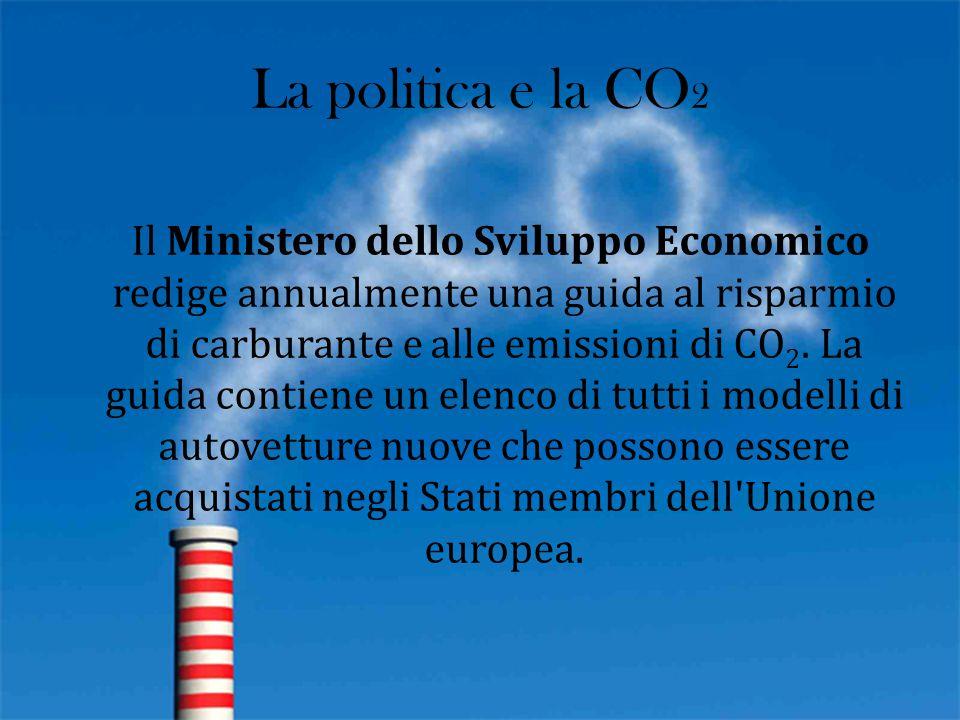 La politica e la CO 2 Il Ministero dello Sviluppo Economico redige annualmente una guida al risparmio di carburante e alle emissioni di CO 2. La guida