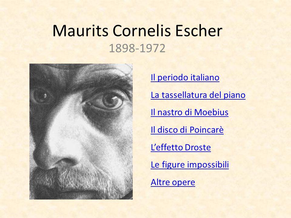 Maurits Cornelis Escher 1898-1972 Il periodo italiano La tassellatura del piano Il nastro di Moebius Il disco di Poincarè L'effetto Droste Le figure i