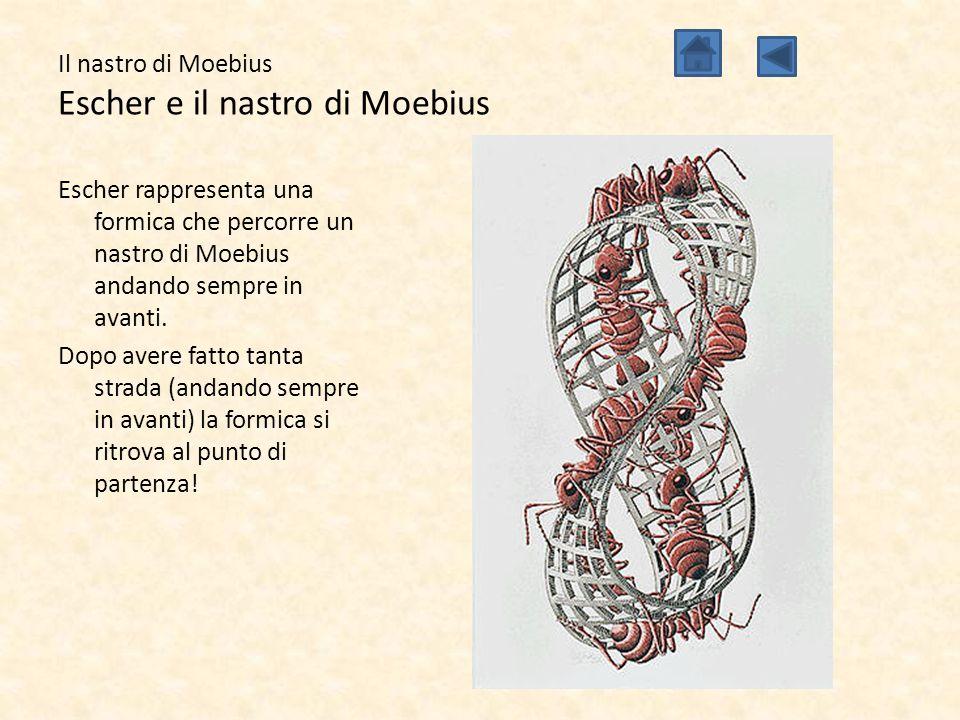 Il nastro di Moebius Escher e il nastro di Moebius Escher rappresenta una formica che percorre un nastro di Moebius andando sempre in avanti. Dopo ave