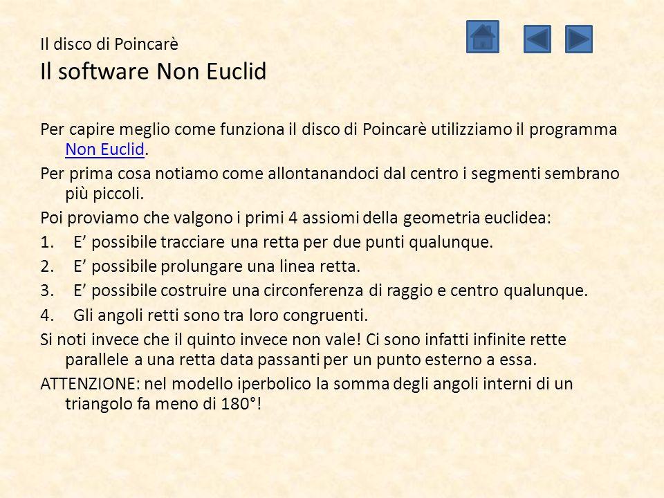 Il disco di Poincarè Il software Non Euclid Per capire meglio come funziona il disco di Poincarè utilizziamo il programma Non Euclid. Non Euclid Per p