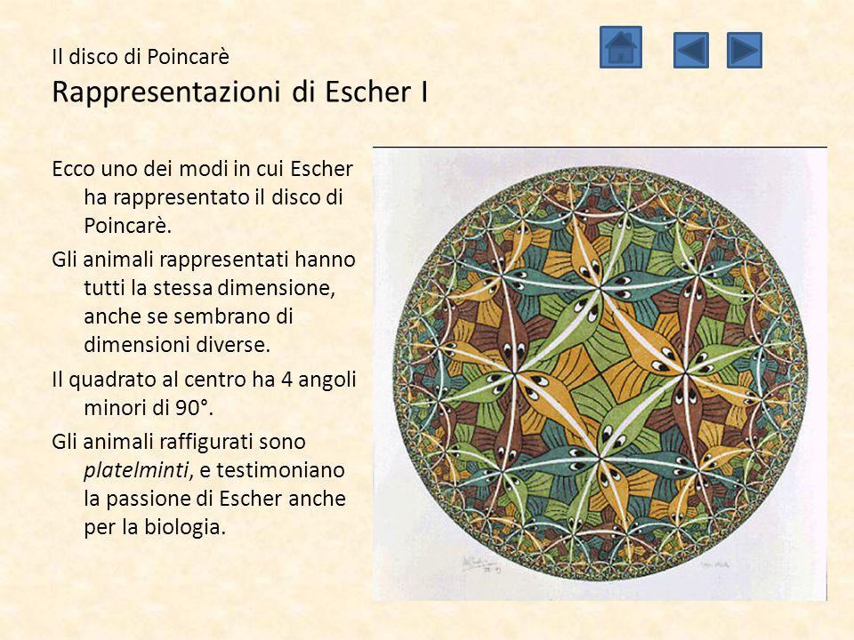 Il disco di Poincarè Rappresentazioni di Escher I Ecco uno dei modi in cui Escher ha rappresentato il disco di Poincarè. Gli animali rappresentati han