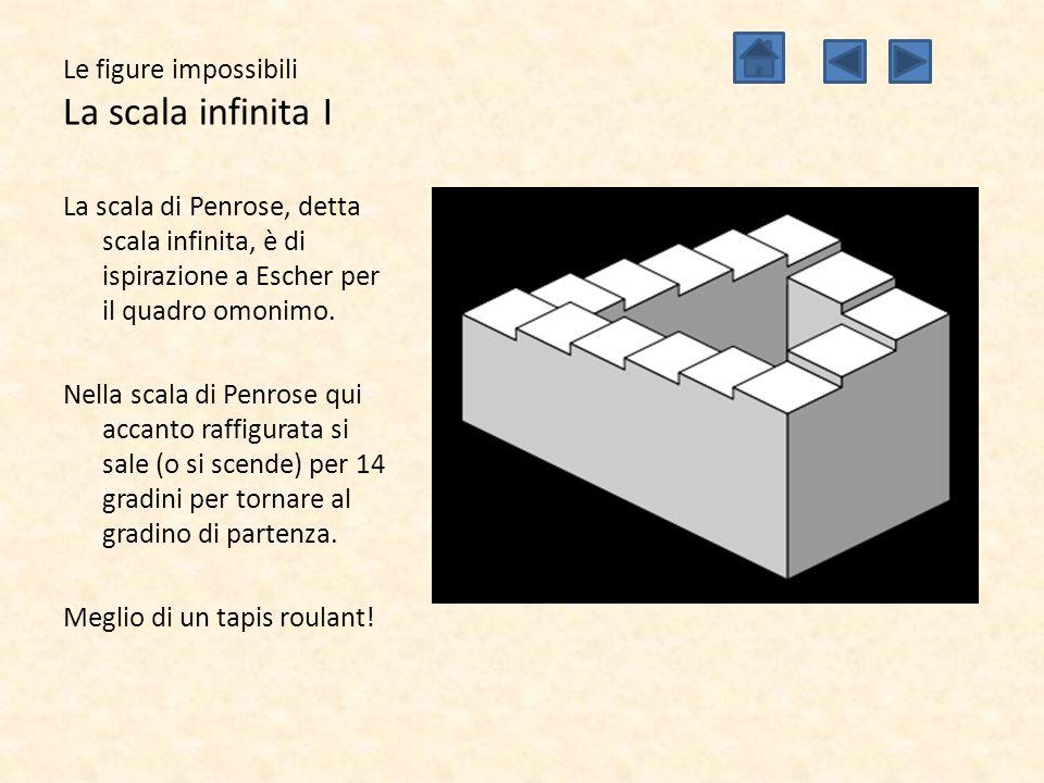 Le figure impossibili La scala infinita I La scala di Penrose, detta scala infinita, è di ispirazione a Escher per il quadro omonimo. Nella scala di P