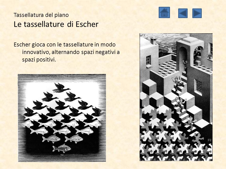 Tassellatura del piano Le tassellature di Escher Alcune delle opere più conosciute di Escher che riguardano la tassellatura sono le metamorfosi, nelle quali piccole variazioni cambiano totalmente il tipo di tassellatura a distanza di 20 o 30 cm.