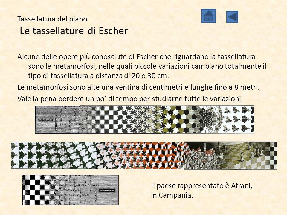 Tassellatura del piano Le tassellature di Escher Alcune delle opere più conosciute di Escher che riguardano la tassellatura sono le metamorfosi, nelle