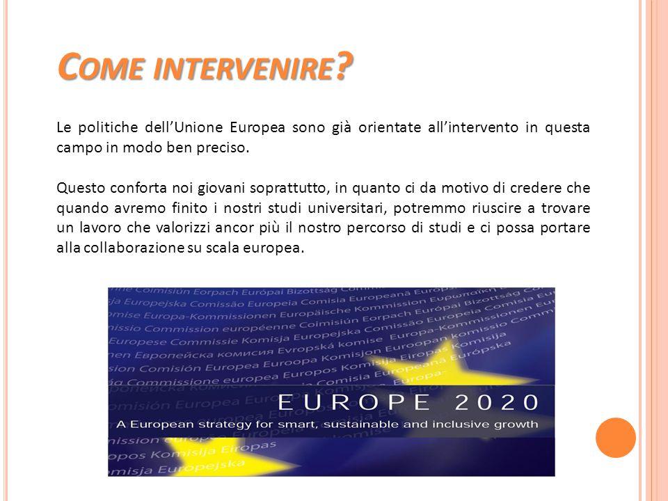 C OME INTERVENIRE ? Le politiche dell'Unione Europea sono già orientate all'intervento in questa campo in modo ben preciso. Questo conforta noi giovan