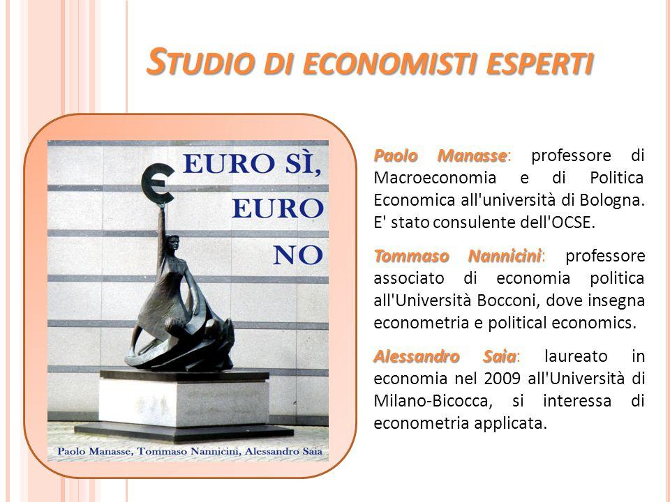 S TUDIO DI ECONOMISTI ESPERTI Paolo Manasse Paolo Manasse: professore di Macroeconomia e di Politica Economica all'università di Bologna. E' stato con