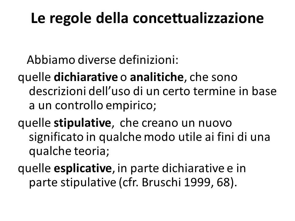 Le regole della concettualizzazione Abbiamo diverse definizioni: quelle dichiarative o analitiche, che sono descrizioni dell'uso di un certo termine in base a un controllo empirico; quelle stipulative, che creano un nuovo significato in qualche modo utile ai fini di una qualche teoria; quelle esplicative, in parte dichiarative e in parte stipulative (cfr.