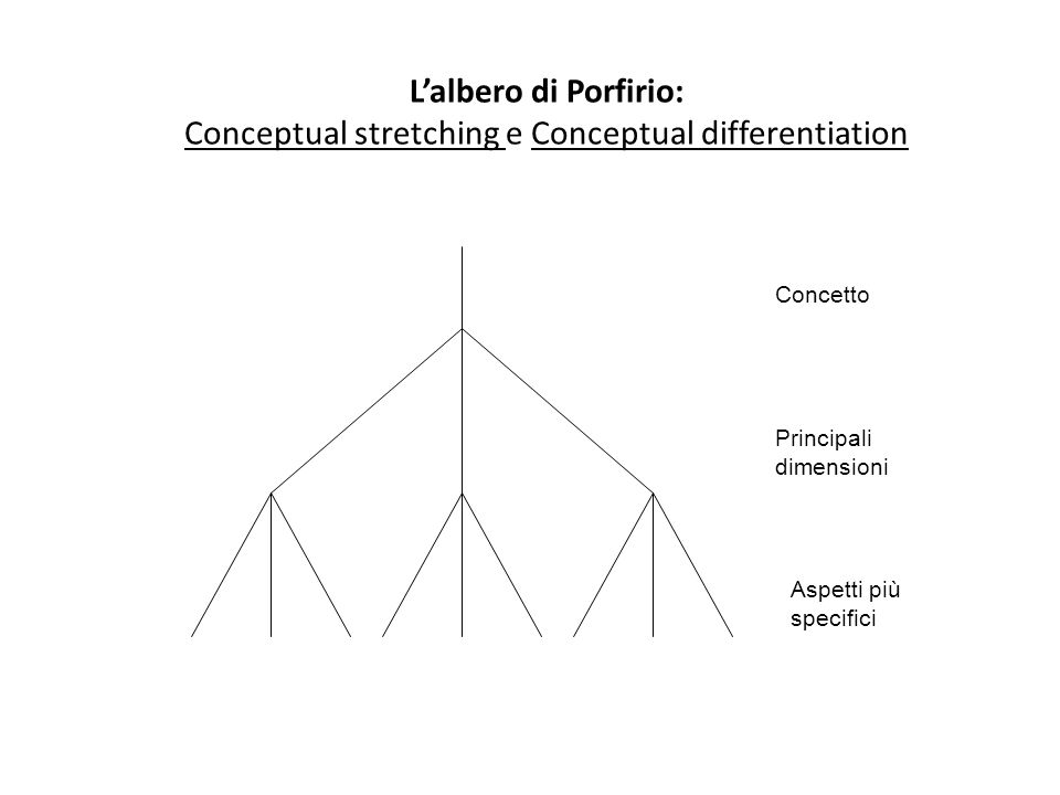 Concetto Principali dimensioni Aspetti più specifici L'albero di Porfirio: Conceptual stretching e Conceptual differentiation